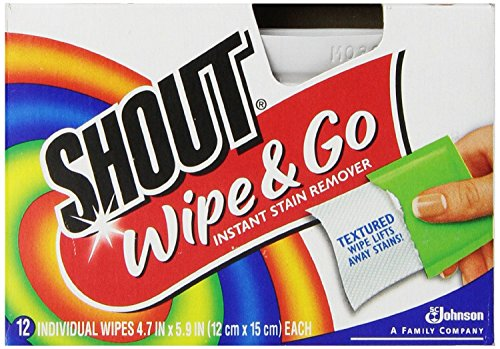 Shout Wipe and Go Instant Stain Remover, for On-the-Go Laundry Stains, 12 Count - Pack of 12 (144 Total Wipes)