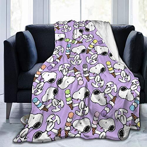 Manta de forro polar Snoopy And Friends, tamaño individual, 125 x 150 cm, de doble cara, suave manta de microfibra para sofá, cama, sofá, ultra lujosa, cálida y acogedora para todas las estaciones