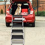 Zerria Dog Stairs for Large Dogs, Portable Foldable Aluminum Lightweight Pet Ramp,Accordion Pet Ladder Dog Car Steps with Non-Slip Surface for High Beds, Trucks, Cars and SUV, Supports 200 lbs