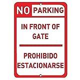 Lotusworld - Señal de Advertencia de no aparcar en Frente de Puerta Prohibido estacionarse de 8 x 12 Pulgadas