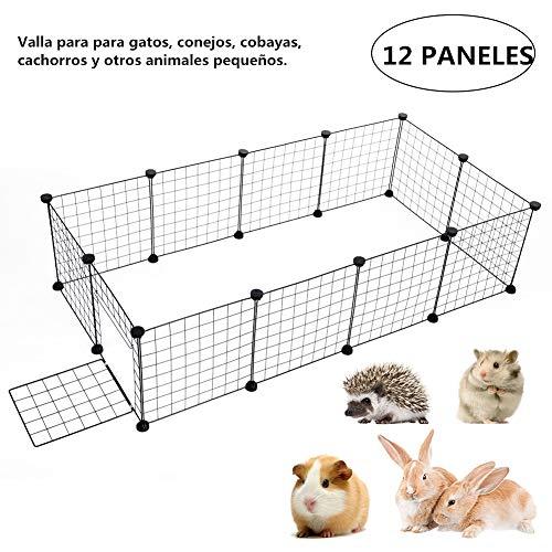 Parque de Mascotas, 12/24/ 36 Los Paneles Metal Cable Parque Infantil Ajustable...