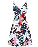 STYLEWORD Women's Summer V Neck Dress Floral Spaghetti Strap Beach Pocket Dress