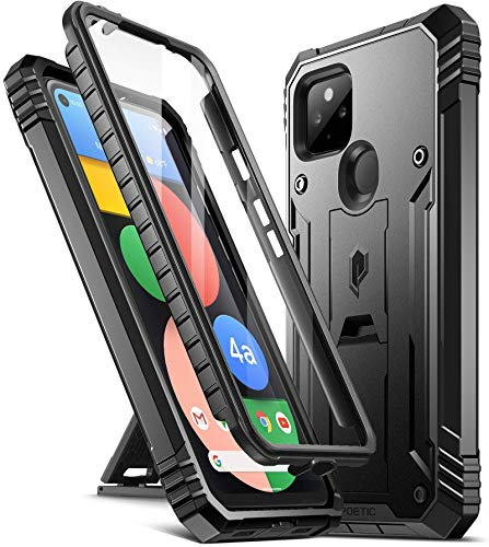 Poetic Revolution Series Designed for Google Pixel 4a 5G Case 6.2 inch (2020), Full-Body Rugged Dual-Layer Shockproof Protective Cover with Kickstand and Built-in-Screen Protector, Black