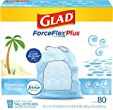 Glad® ForceFlexPlus Tall Kitchen Drawstring Trash Bags - 13 Gallon Trash Bag, Febreze Beachside Breeze - 80 Count (Package May Vary)