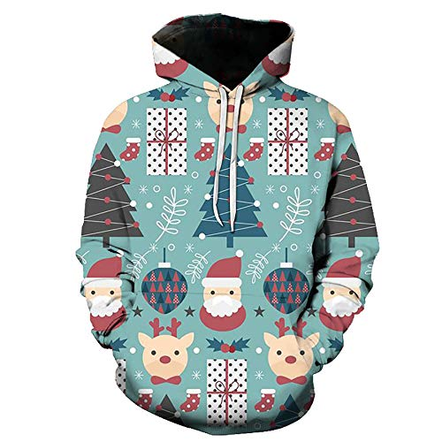 WBYFDC Weihnachten 3D Digitaldruck Hoodie Sport Sweatshirt Pullover Paar Outfit Männer Frauen Herbst Winter Kleidung