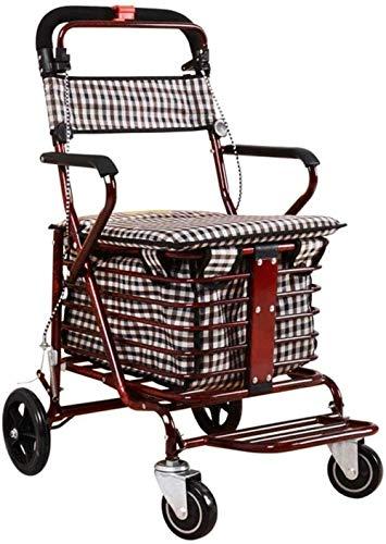 gengxinxin Klappbar Einkaufstrolleys Verstellbarer Griff Einkaufstrolley Einkaufskörbe Einkaufswagen Allradwagen Walker Wheel Senior Trolleys Multifunktions-freizeitwagen Einkaufswagen (Farbe: A) -b