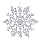 Deggodech 12 pièces 10cm Flocon de Neige Plastique Paillette Ornements Suspendus Décorations de fenêtre d'arbre de...