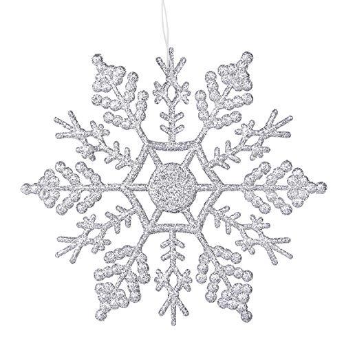 Deggodech 12 Stück 10cm Glitter Schneeflocken Deko Plastik Aufhängen Weihnachtsbaum Hängende Ornamente Schneeflocke hängend Weihnachtsbaumschmuck Weihnachtsdeko (Silber)