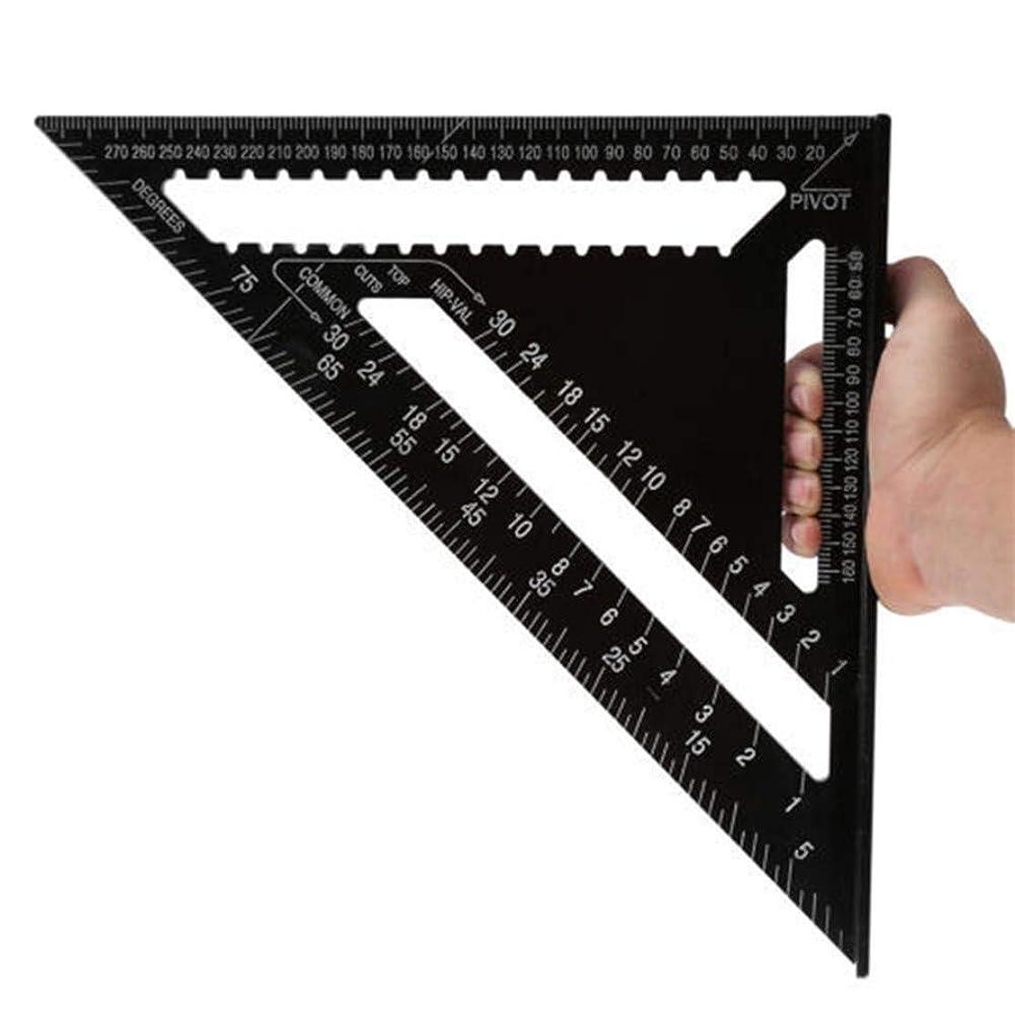 まだら扇動する豚肉分度器角度定規 7/12インチ メートル法アルミニウム合金 三角測定定規 木工スピード正方形 三角角分度器 角度定規 ブラック 0123