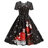 Moda de mujer de manga corta de encaje suelto de Navidad de cintura alta para bodas, vacaciones, fiestas, costuras, falda larga 5, Negro , L