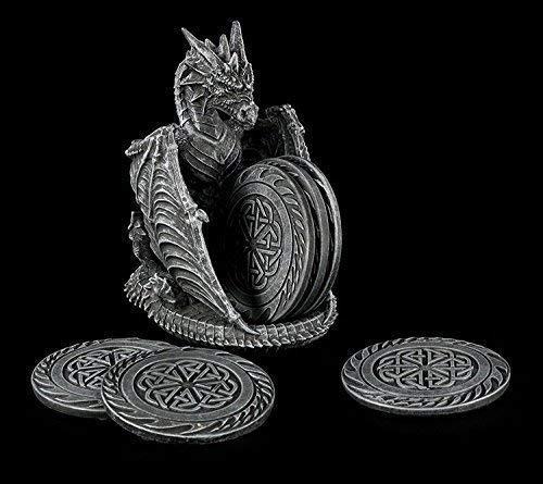 Gothic Glas Untersetzer Set mit Drachen Figur als Halter | Geschenkidee Deko