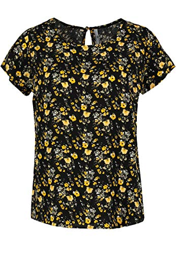 Sublevel Damen Shirt-Bluse mit Muster Print & Knopf Yellow L