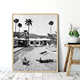 Cerdo en la piscina impresión en lienzo cartel de Palm Springs fotografía en blanco y negro foto de pared retro decoración de la sala de estar 40x60cmx1 pieza sin marco