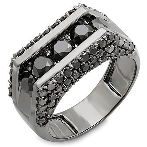Dazzlingrock Collection Anillo de oro de 14 quilates chapado en rodio negro redondo con 5 piedras de diamante para hombre, estilo hip hop