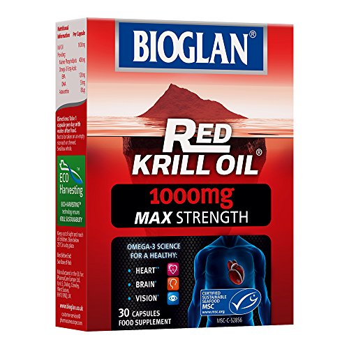 Bioglan Red Krill Oil Max Strength 1000 mg, high in Omega-3 Fish Oil, EPA & DHA help to support your Heart, Eye and Brain health, one month supply – 30 capsules