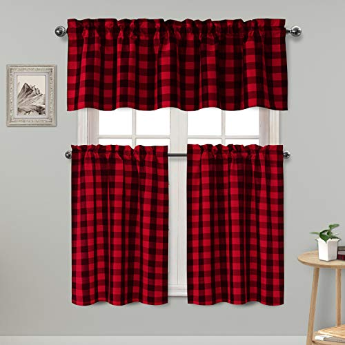 Hiasan 3 Piece Semi Sheer Kitchen Curtains Light Filtering Checkered Tier and Valance Window Curtains Set, Red and Black