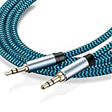 Aux Cable 10 ft,Hftywy 3.5mm Male to Male Stereo Aux Cord 3.5mm Auxiliary Audio Cable Nylon Braided Male to Male Stereo Audio Cables Compatible Car/Home Stereos,Speaker,iPhone iPod iPad,Headphones