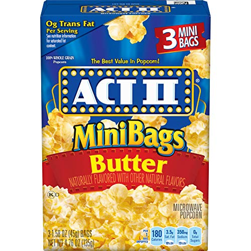 New ACT II Butter Microwave Popcorn, 3-Count, 1.6-oz. Mini Bags (Pack of 12)