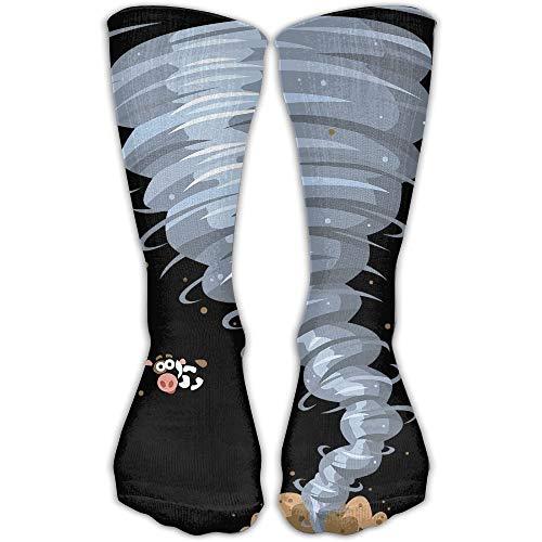 Lsjuee Terrible Tornado Damen &Herren Socken Kniehohe lange Fußball Sport Tube Strümpfe Länge 30cm
