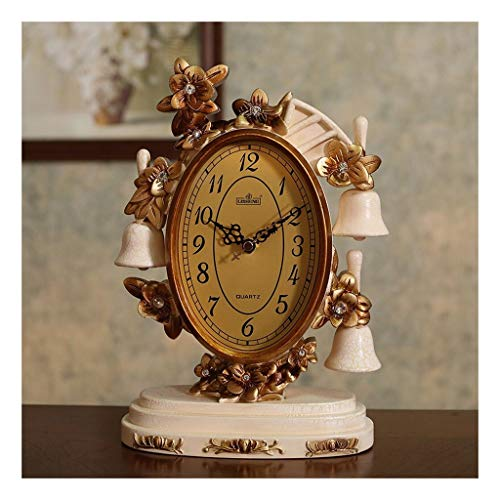 Clock Soporte de estilo europeo para sala de estar, péndulo, decoración de escritorio, creativa, para uso en casa o al aire libre (color: A)