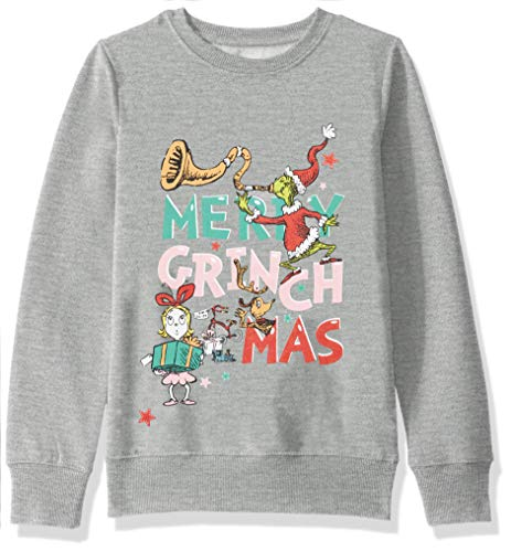 Dr. Seuss Girls' Ugly Christmas Crew Sweatshirt, Grinchmas/Light Heather Grey, Small (6/6x)
