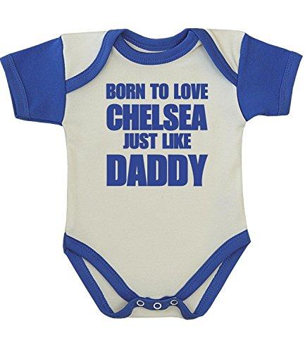 Babyprem Baby Body Strampler 'Born to Love Chelsea Like Daddy' Kleidung BLAU 68-74cm