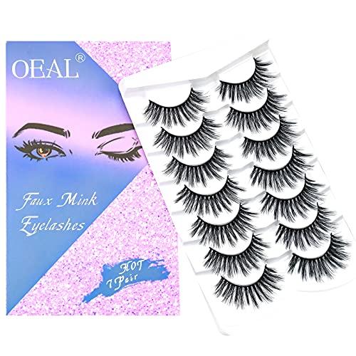 OEAL Faux Mink Eyelashes 3D Multi-layered Effect Wispy Natural Look False Lashes 100% Handmade False Eyelashes|7 Pairs Monday Style