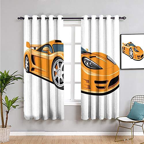 Pcglvie Cortinas opacas de alta calidad para coches, 160 cm de largo, color naranja y negro y plateado