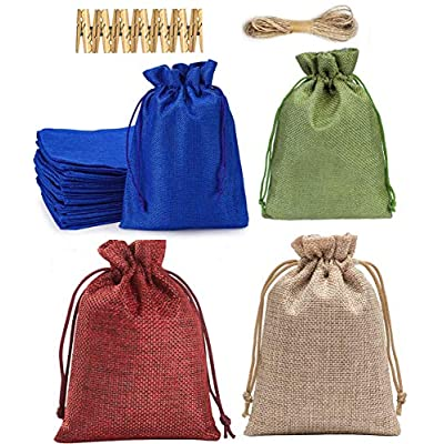 Amazon - Save 60%: ANROM 24 Pieces Burlap Drawstring Bags Gift Jewelry Candy Pouches f…