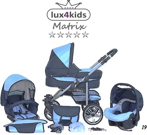 Chilly Kids Matrix II kinderwagen & kinderstoel Zomerset (parasol, autostoel, regenjas, muskietennet, zwenkwielen) 19 Navy & Lichtblauw