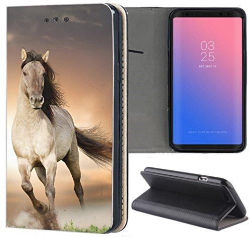 Kuna-Mobile Hülle für Huawei Y6 2018 Handyhülle Motiv 1005 Pferd Braun aus Kunstleder Handyhülle Flipcover Schutzhülle Smart Cover Handy Case Hülle für Huawei Y6 2018