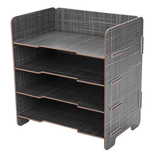 Organizer da tavolo, formato A5, con 4 scomparti, in legno, per ufficio, per la carta, per riviste, per la scuola
