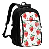 asfg Resistente a Las Manchas Strawberry Multifunctional Personalized Customized USB Backpack, Student School Outdoor Backpack,Travel Bag Laptop Bookbags Business Daypack.
