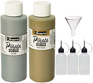 Jacquard Pinata Metals Bundle - Silver and Rich Gold Colors (4-Ounce Bottles), 3 Pixiss 20ml Needle Tip Applicator and Refill Bottles and 1.5 inch Funnel Bundle for Yupo and Resin