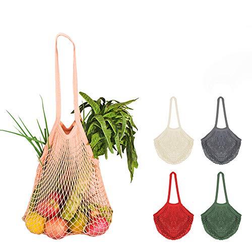 5 Bolsa Red Malla Cestas de la compra con Asa Larga para Llevar al Hombro, Creatiees Bolsa para la Compra Reutilizables totalizador de las compras de la secuencia del algodón orgánico(5 Colores)