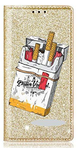 Mixroom - Custodia Cover Case in TPU Morbido con Libro Brillantini Glitter Oro per iPhone 6 Fantasia Pacchetto di Sigarette codice BR299