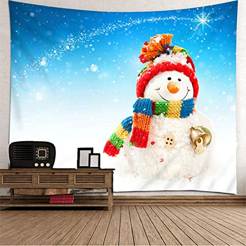 Daesar Christmas Decorations Tapestry, Wall Tapestry Hanging Snowman 3D Tapestry Durable Polyester Blue White Wall Mural Bedroom 138 x 100 Inch