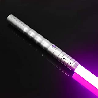 YDD Dueling Light Saber,Black Series Lightsaber, Realistic Blaster Sound and Flashes,USB Charging,Detachable (Silver Hilt Pink Blade)