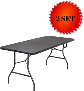Cosco Deluxe 6 Foot x 30 inch Fold-in-Half Blow Molded Folding Table (Black - 2 Set)