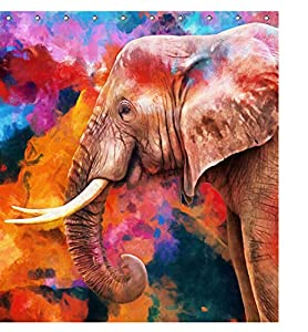 Watercolor Elephant Wildlife Animal Fabric Shower Curtain Sets Bathroom Decor with Hooks Waterproof Washable 71 x 71 inches Brown Red Blue