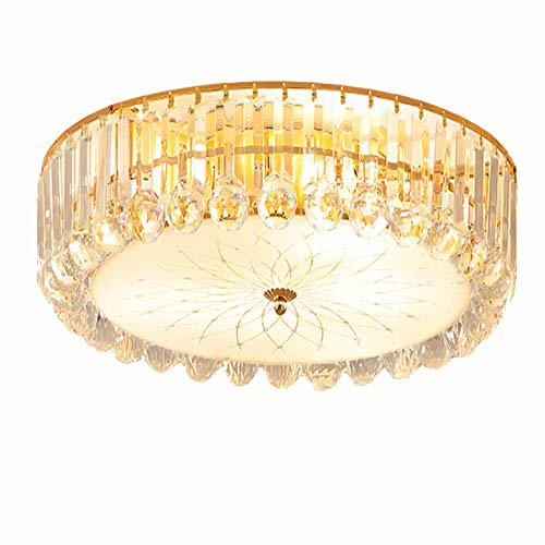 Kankanray K9 Crystal Ceiling Light Flush Mount Chandelier, with Remote Control 9E14 Blubs Modern Round Crystal Ceiling Lamps for Living Room/Kitchen Light (23.6inch)