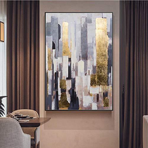 Modern Abstract Schilderij Gouden folie Licht Luxe Woonkamer Villa,Model Kamer Enorme Verticale Decoratieve Schilderijen 60x90cm Geen Frame