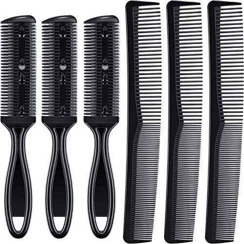 6 Pieces Hair Razor Comb Thinner Cutter Comb and Carbon Fiber Barber Comb for Hair Salon or DIY Shorten/Shape/Thin Hair, Fine Cutting Comb, Black