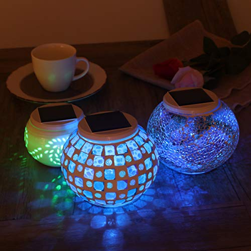 OSALADI Luces Solares de Mosaico Que Cambian de Color Luces Led de Bola de Cristal de Mosaico Recargables Lámparas de Mesa Impermeables para Exteriores E Interiores Regalos para
