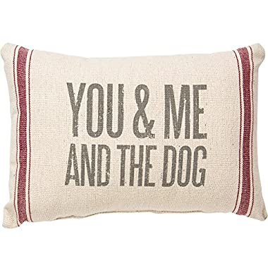 Primitives by Kathy Vintage Flour Sack Style You and Me and the Dog Throw Pillow, 15 x 10-Inch
