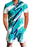 Men's Rompers Male Zipper Jumpsuit Shorts 90's Jazz Solo Paper Cup Hip Hop Printed One Piece Slim Fit Outfits Bro Short Sleeve Overalls