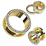 24k Gold Plated Screw-on Plugs/Gauges/Tunnels with Clear CZ 2 Pieces (1 Pair) (A10) (00g (10mm))