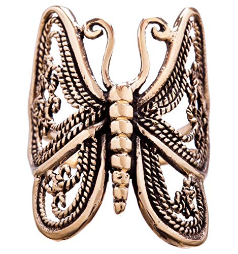 WINDALF Elfen Ring INÂLA h: 2.7 cm Schmetterling Glücks- & Freundschafts Hochwertige Bronze (Silber, 66 (21.0))