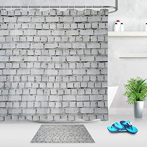 ZZ7379SL Muro de ladrillo Blanco Cortina de baño 3D impresión Digital Resistente al Agua Resistente al Moho Duradero +12 Gancho
