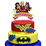 Acrylic Super Hero Girls Happy Birthday Cake Topper, Super Girls Bday Cake Decor, Superheroine Birthday Party Decoration Supplies